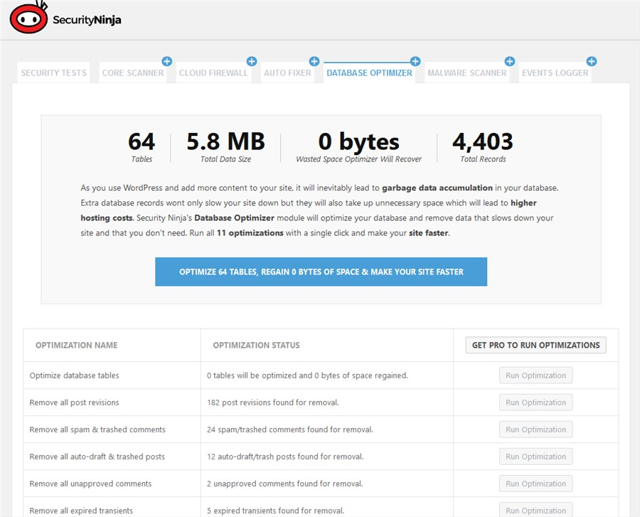 Database optimizer is designed to help you analyze and clean up garbage database data in order to speed up a website.