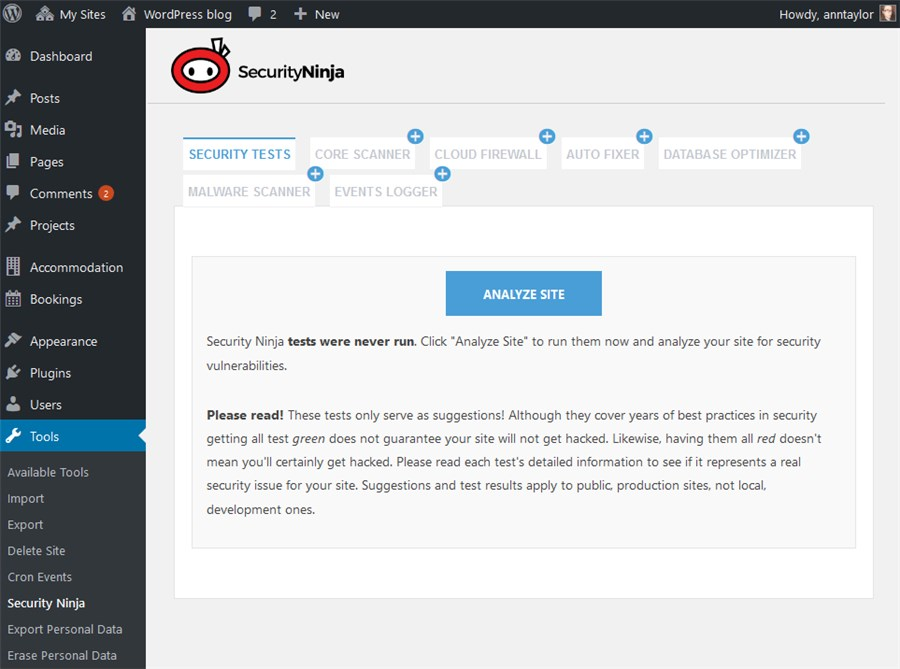 security ninja starter screen wordpress