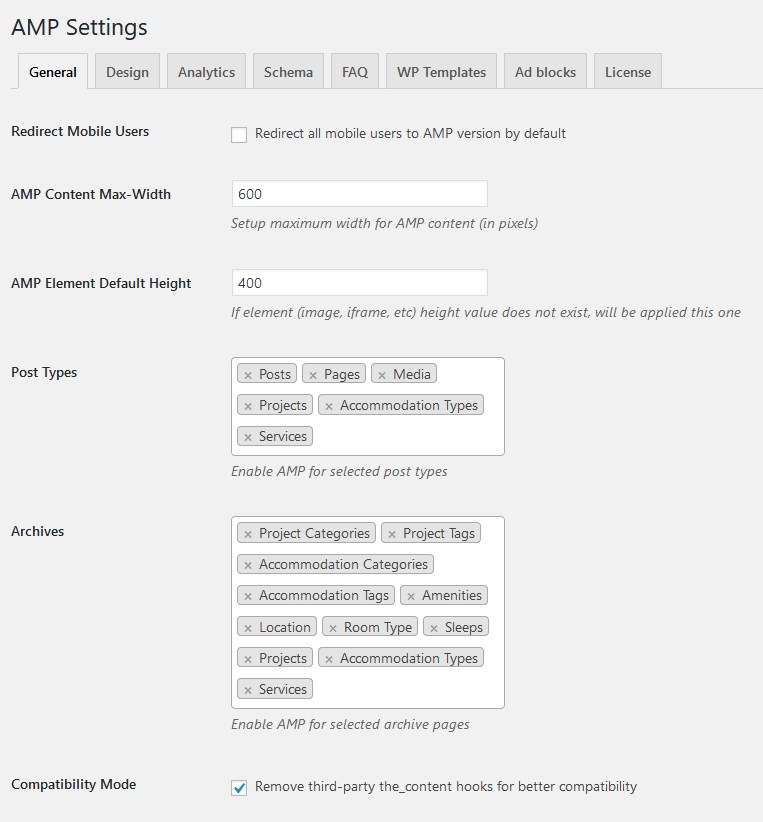 wordpress amp plugin general settings
