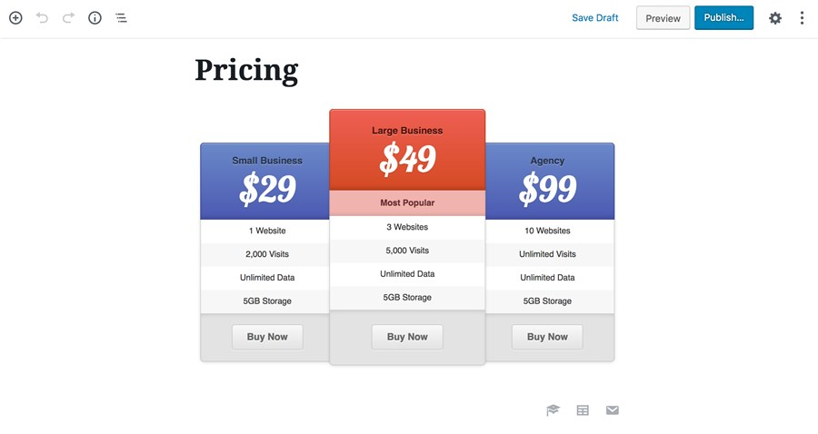easy pricing table wordpress for gutenberg