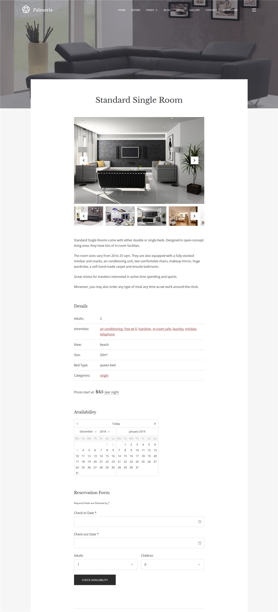 palmeria single room type