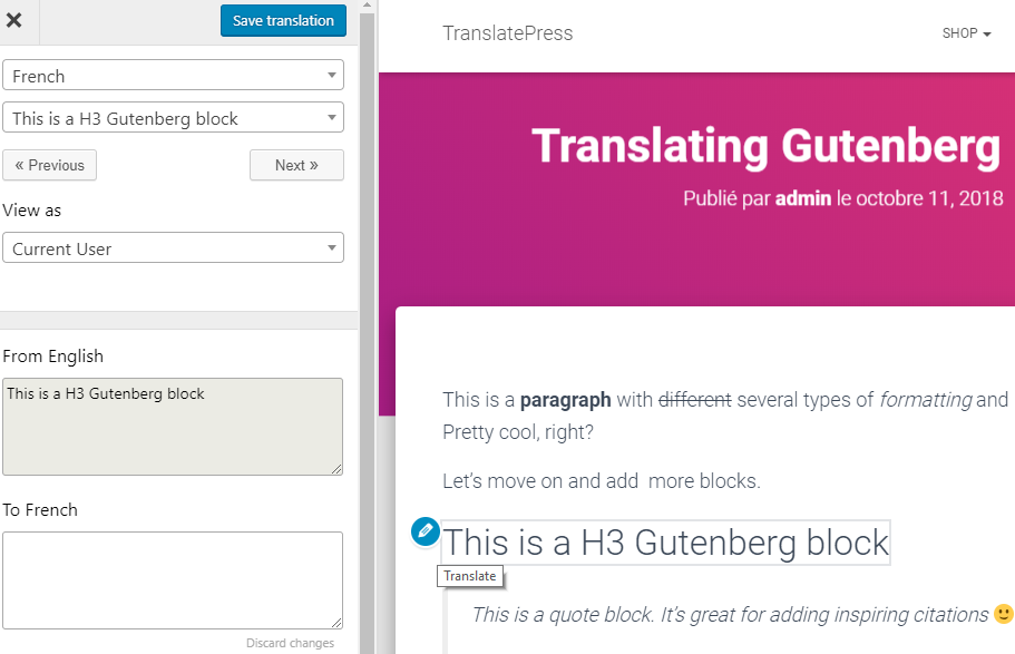 translatepress gutenberg