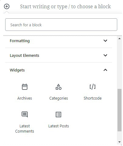 widgets-Gutenberg-WordPress