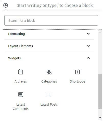 widgets-Gutenberg-WordPress
