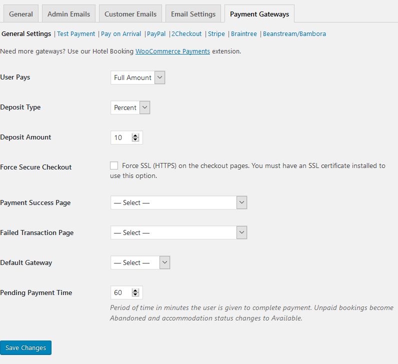wordpress hotel booking payment gateways