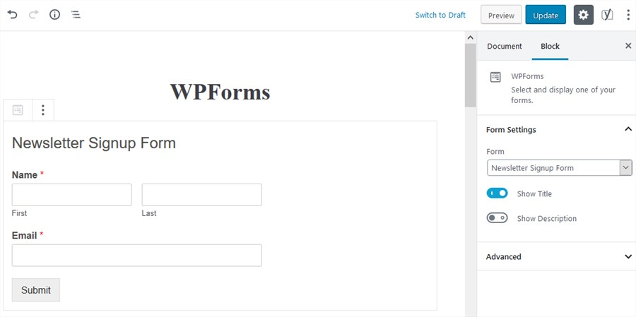 wpforms plugin gutenberg integration