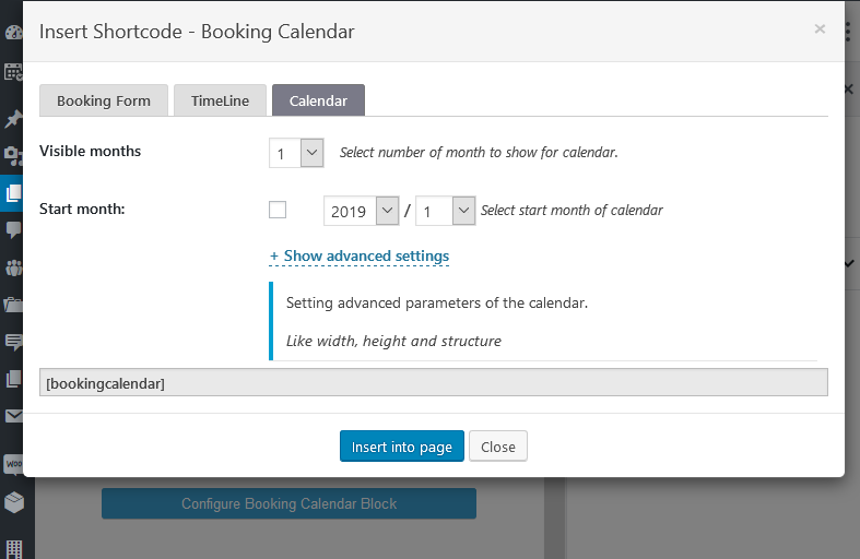 booking calendar plugin block