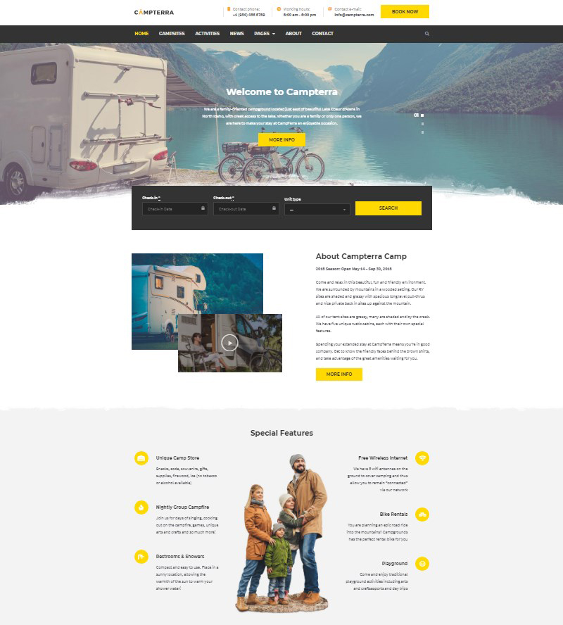 Top Wordpress Camping Themes Motopress