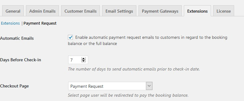 wordpress hotel booking payment request email scheduler