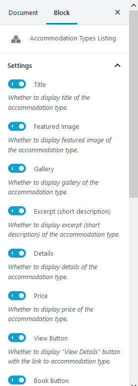 accommodation type listing