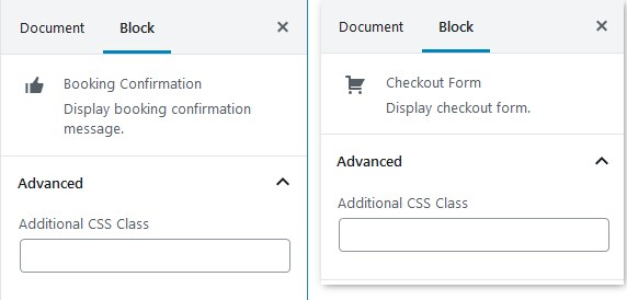 confirmation and checkout blocks