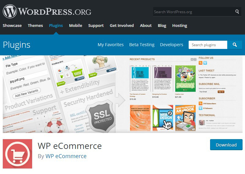 WP eCommerce plugin WordPress