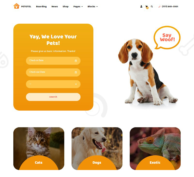 Petotel WordPress pet sitting template