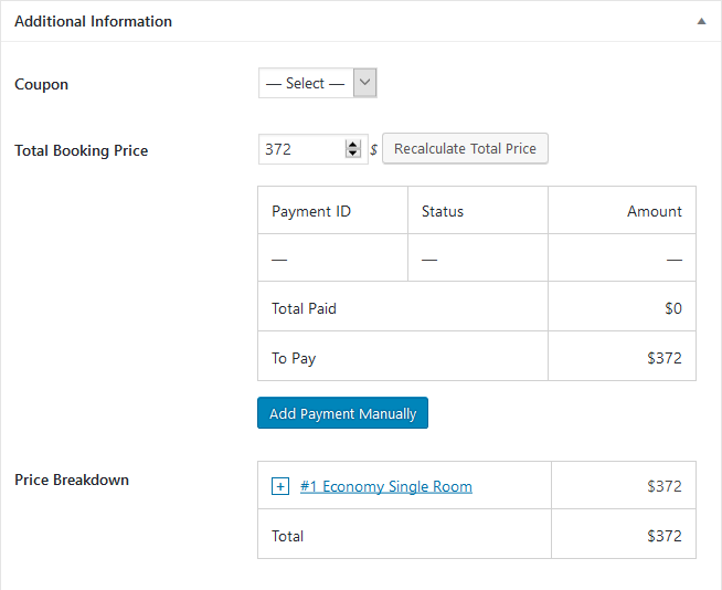 adding payments manually