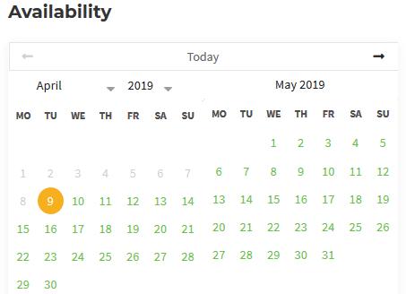 availability calendar wp