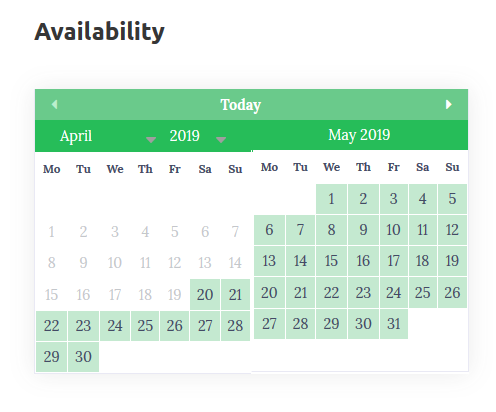 pet sitting hotel wordpress availability calendar