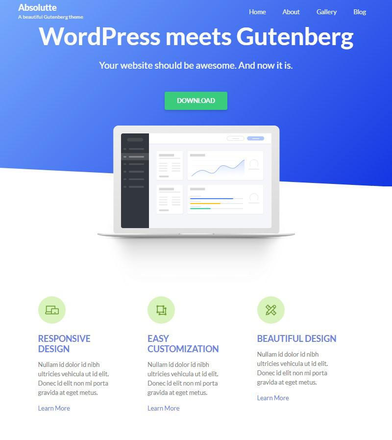 Absolutte one page Gutenberg theme WordPress