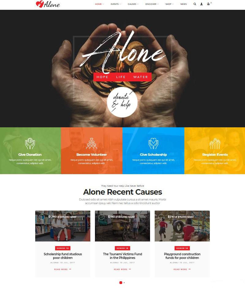 Alone nonprofit WordPress theme