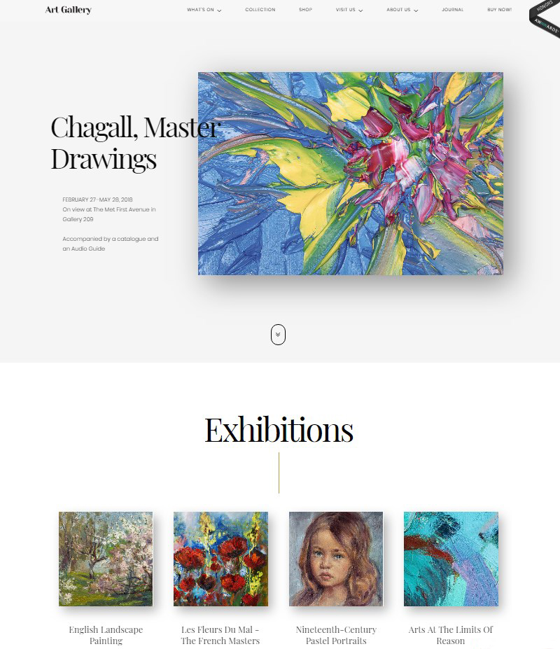 Arte WordPress theme for museums exhibitions and art galleries
