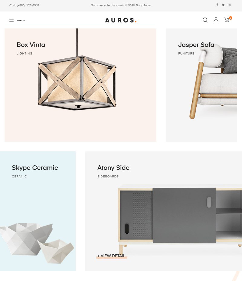Auros furniture shop interior shop WooCommerce WordPress theme
