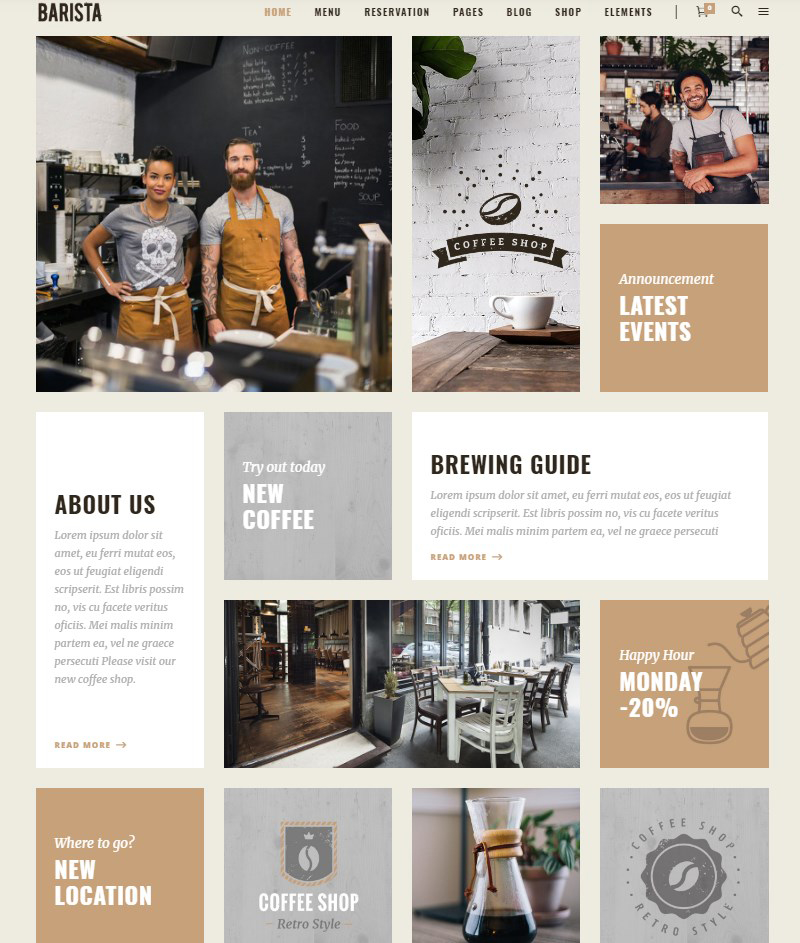 Barista modern theme for cafes, coffee shops and bars