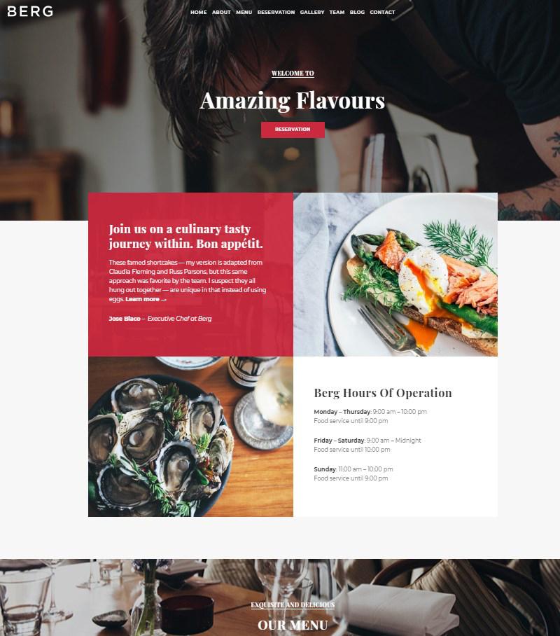 Berg Restaurant template WordPress