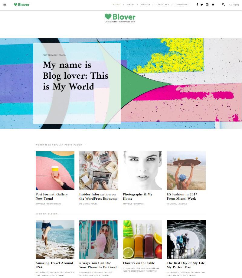 Blover free Gutenberg theme for blogs WordPress