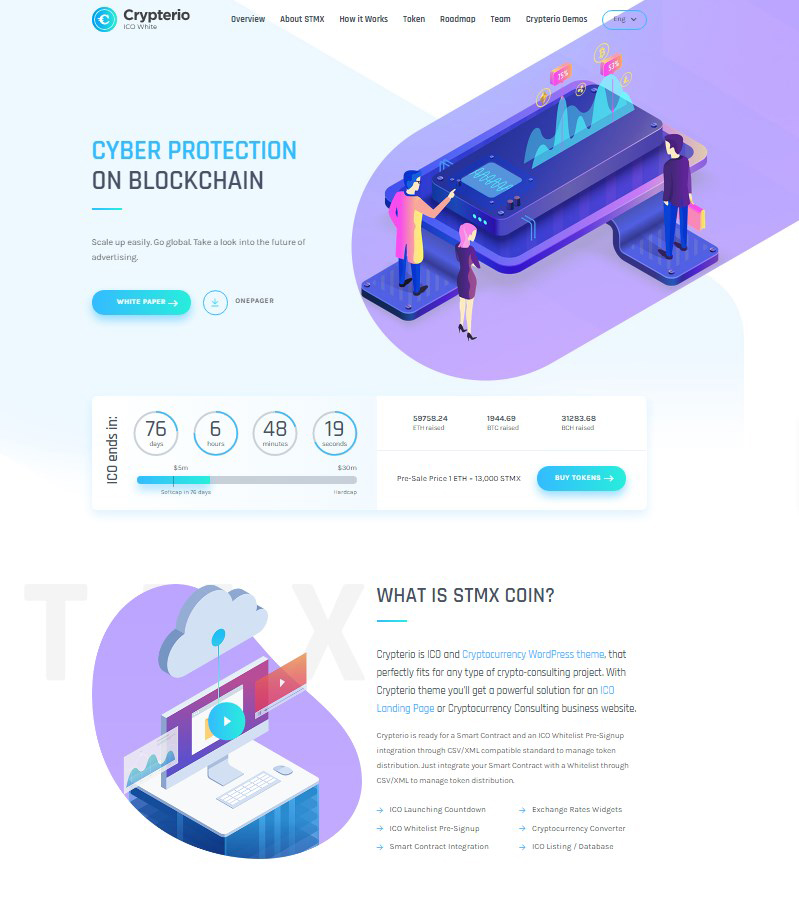 Crypterio ICO landing page WordPress theme