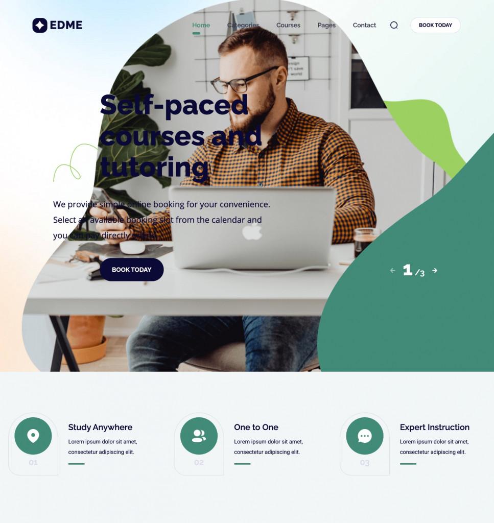 EdMe education-focused tutor booking WordPress theme