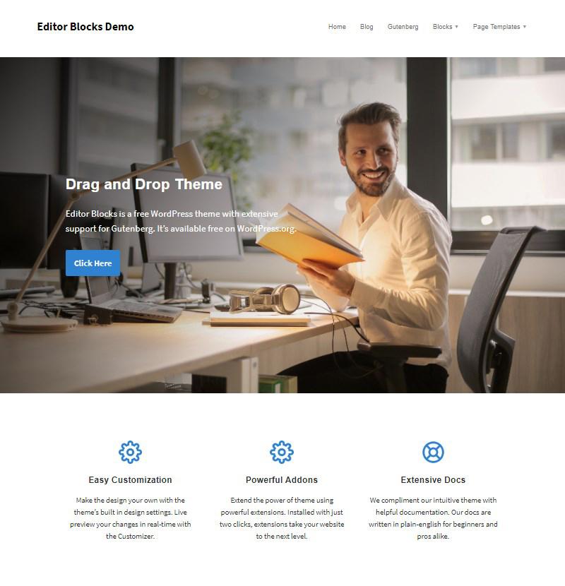 Editor Blocks free WordPress theme with Gutenberg support