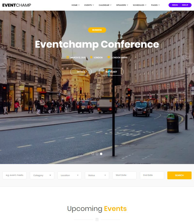 Event Champ WordPress conference and event theme