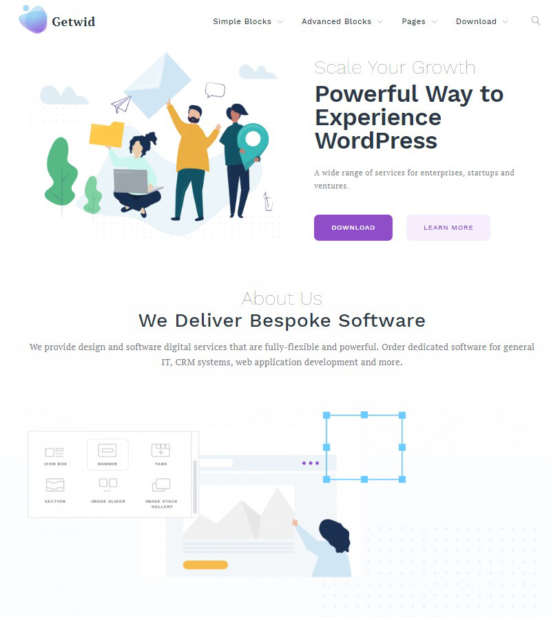 Getwid Base free Gutenberg theme WordPress