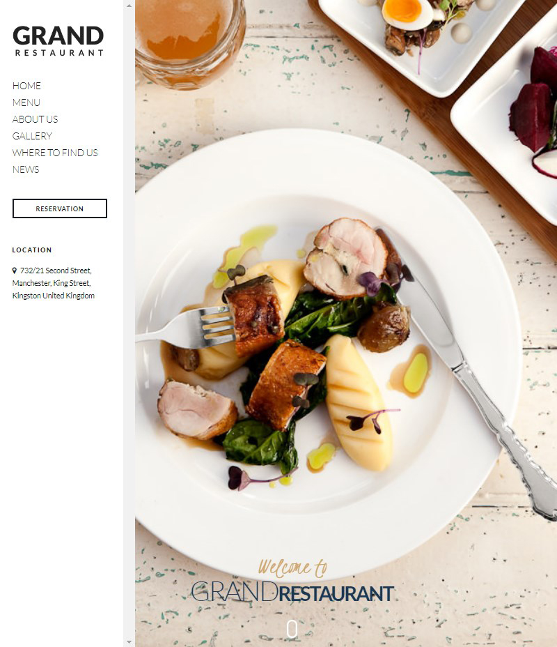 Grand Restaurant cafe and restaurant WordPress theme