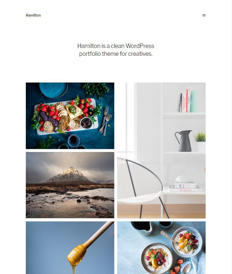 Hamilton Gutenberg portfolio free WordPress theme