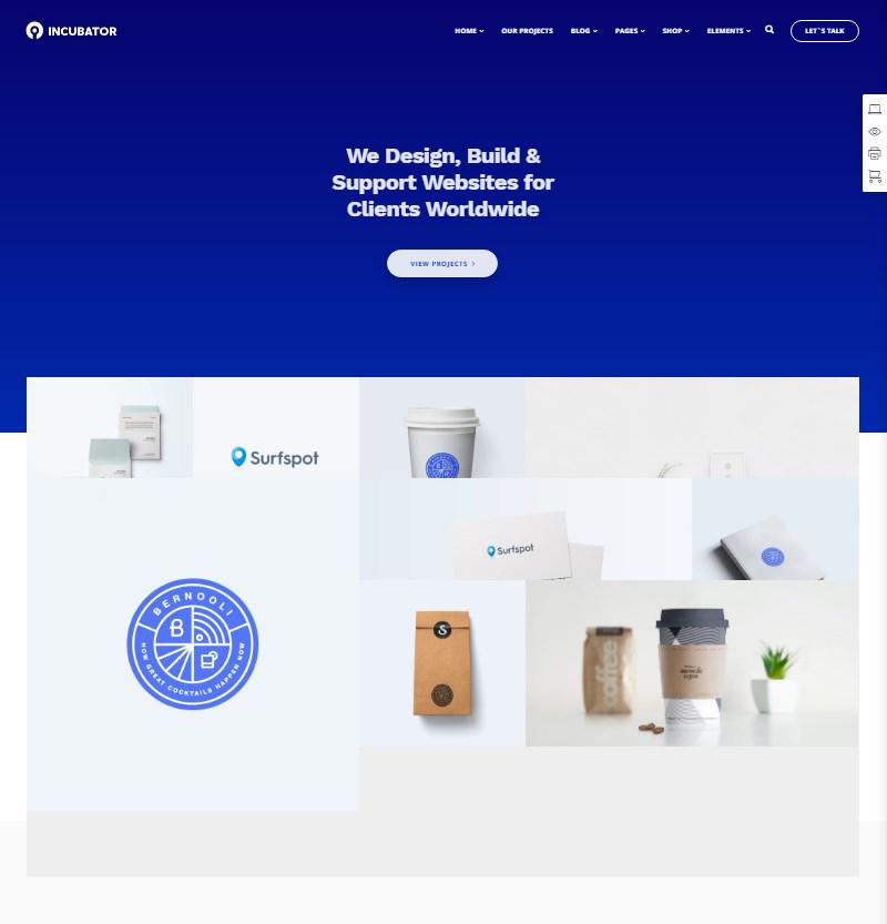 Incubator WordPress theme for startups