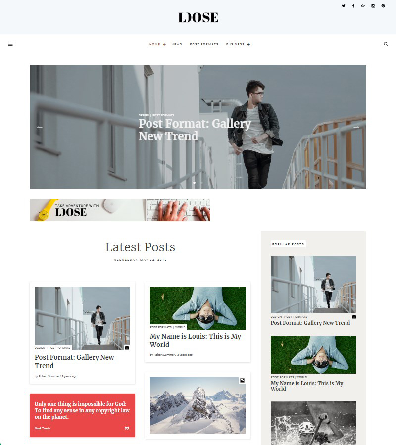 Loose free Gutenberg theme for blogs magazines newspapers WordPress