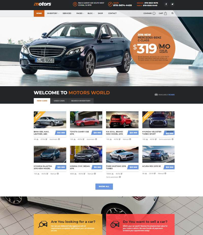 Motors automotive car dealership car rental WordPress theme