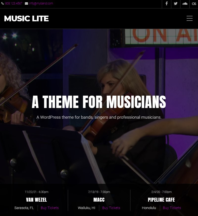 Music Lite free Gutenberg music theme WordPress
