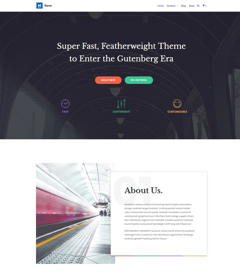 Neve free WordPress theme for Gutenberg