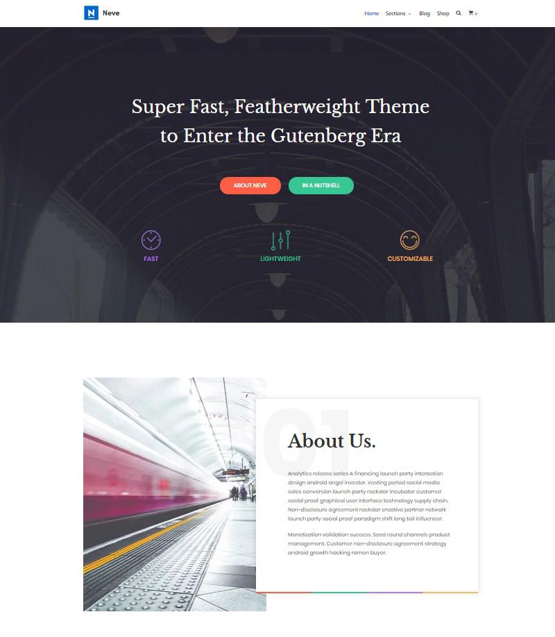 Neve free WordPress theme for Gutenberg