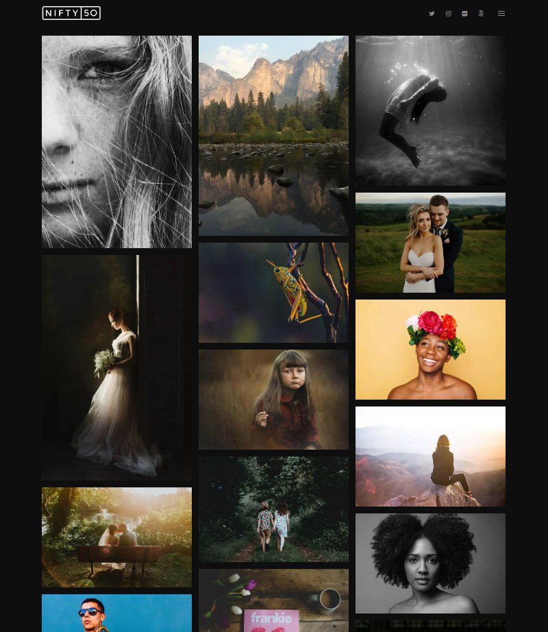 Nifty Fifty photography portfolio WordPress theme
