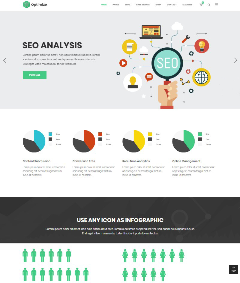 Optimize SEO Digital Marketing and Social Media WordPress theme