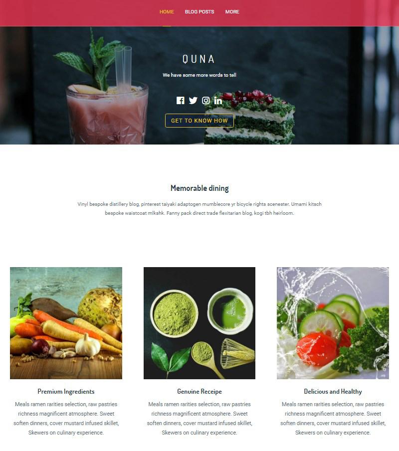 Quna free WordPress theme for Gutenberg editor