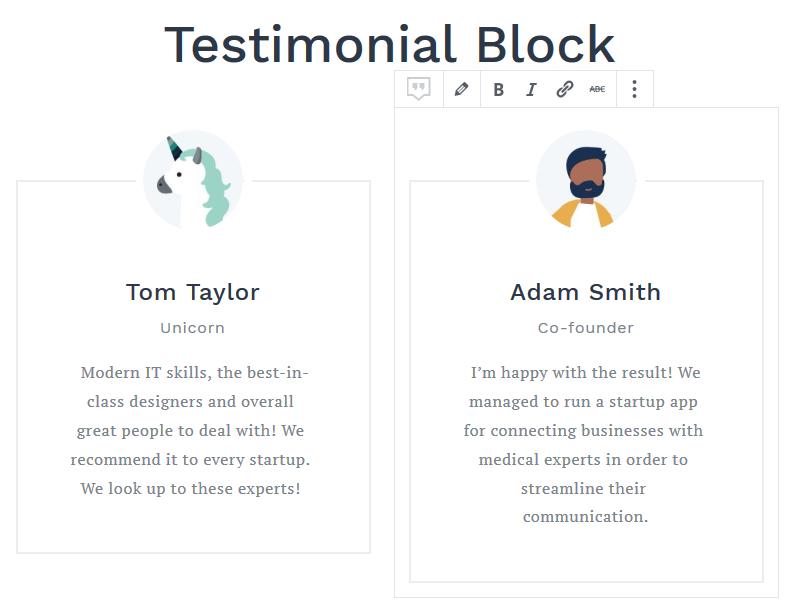 Testimonials block gutenberg