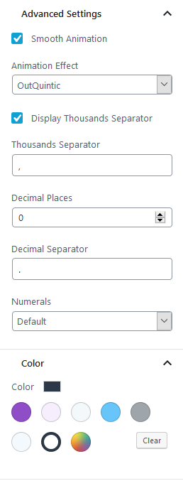 counter block settings