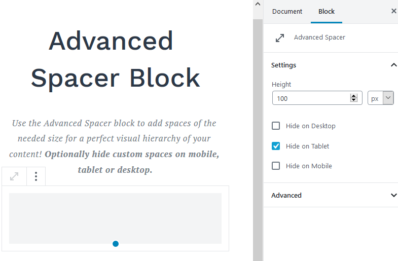 getwid advanced spacer block