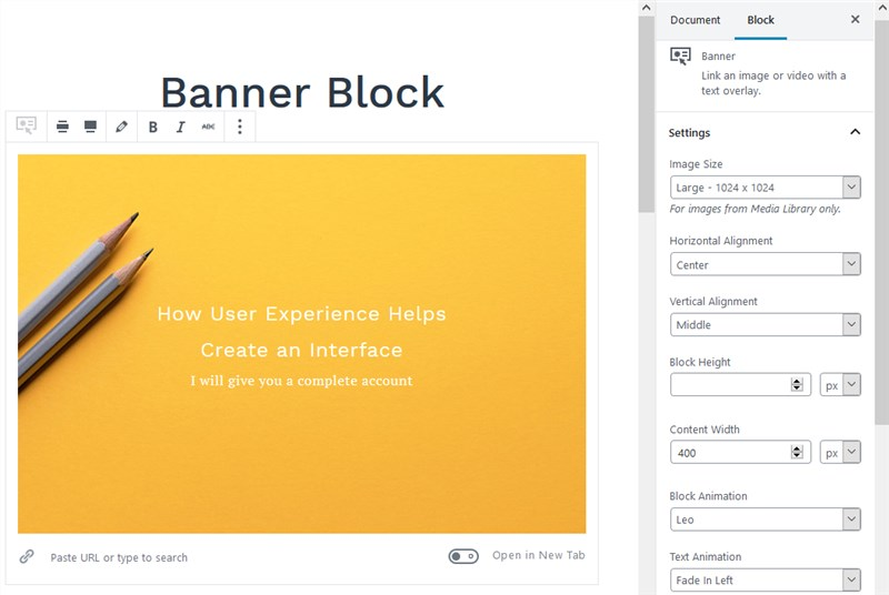 getwid banner block gutenberg settings