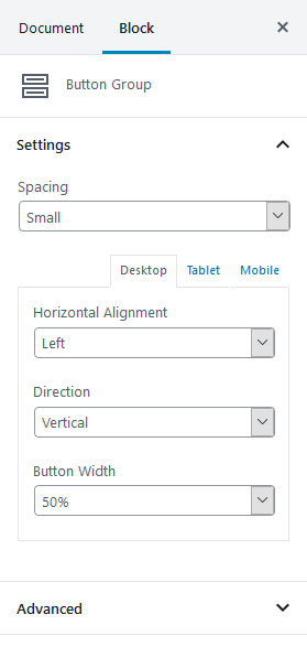 getwid button group settings