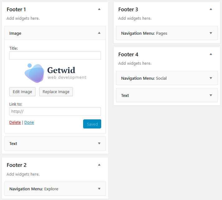 getwid footer widgets