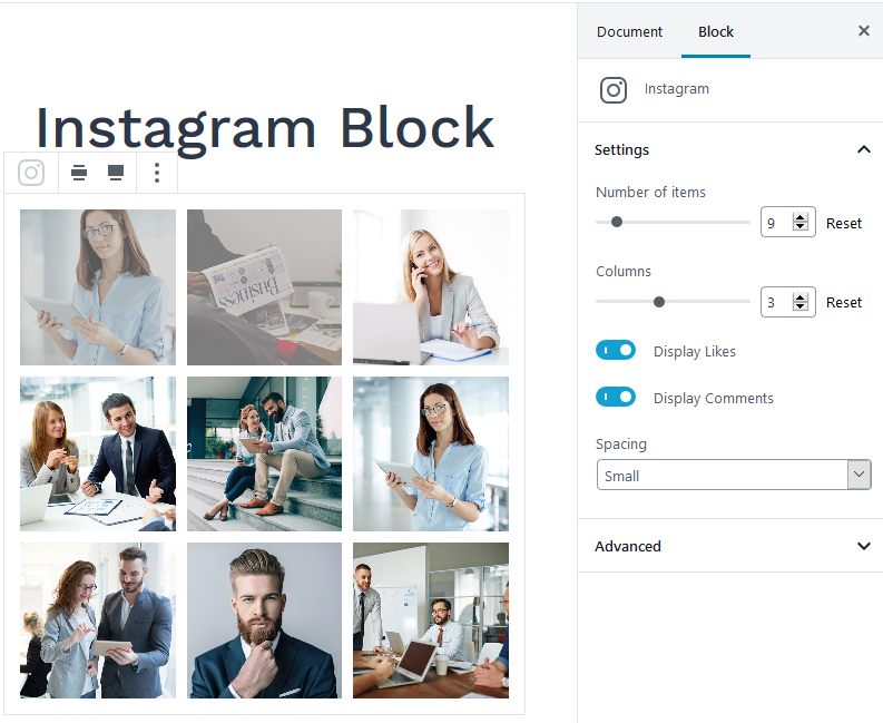 instagram block settings gutenberg blocks